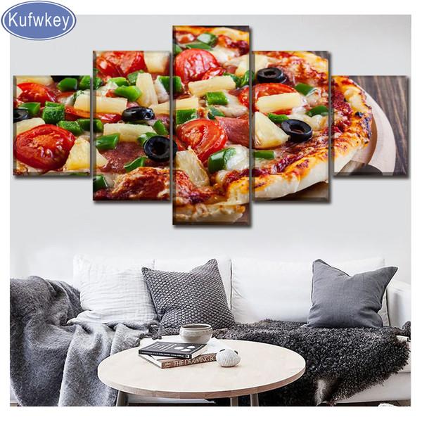 "Full square/round diamond embroidery""Pizza food""diamond Picture 5pcs/set diamond painting cross stitch kit,Restaurant decor art"