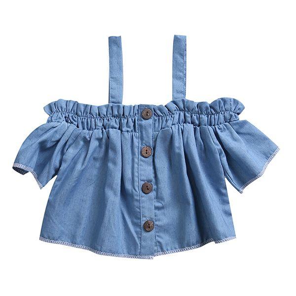 2017 Yeni Moda Yürüyor Çocuk Bebek Kız Denim Üstleri T-shirt Kapalı omuz Yaz Giysileri Çocuk Blusa Kıyafetleri 6 M için 4Y