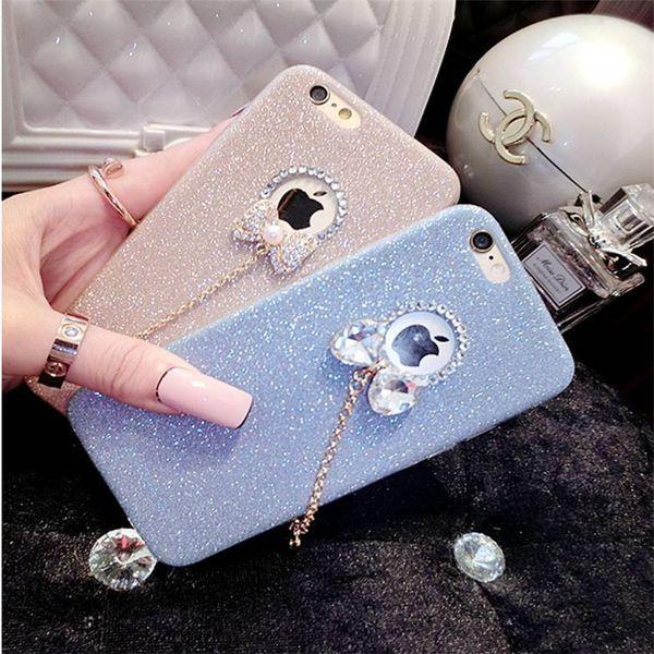 Silicone bowknot rhinestone phone case pó flash tpu telefone de volta capa para iphone x 7 plus 6 6 s 5se ultra-fino com diamante soft phone shell