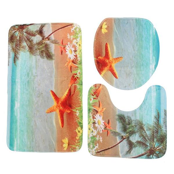 Оптово-3шт Seashell Contour Sea World Design Коврик для пьедестала Коврик для ванной Фланель Крышка для пьедестала Крышка для унитаза Ковер для ванной комнаты