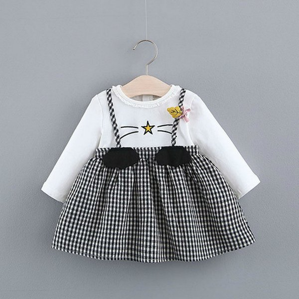 Lovely New Born Baby Girl Long Sleeve Vestidos Party Casual Cotton Girls Tutu Dress Plaid Patchwork 2pcs Kids Birthday Clothes