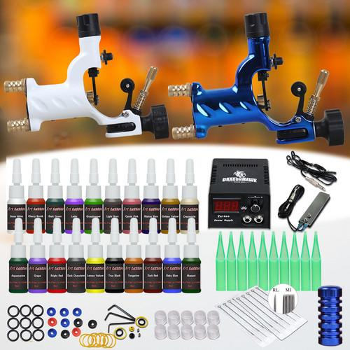 Rotary Tattoo Kit 2 Rotary Motor Guns Dragonfly Machines Power Supply 20 Inks Disposable Needles Tips Grips Complete Tattoo Set