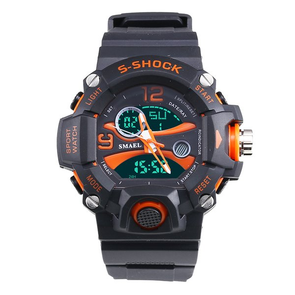 2018 Smael Watch Men Sports Watches 50M Buceo impermeable Relojes analógicos digitales LED Relojes de cuarzo de doble hora Reloj de