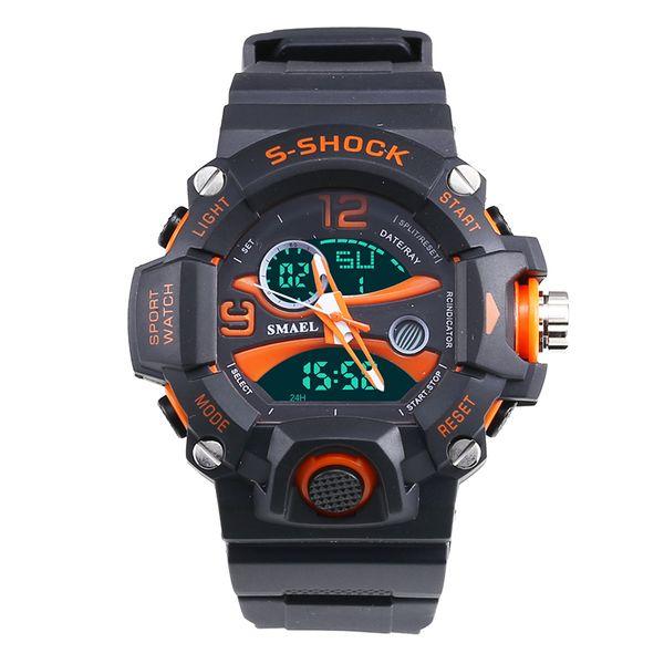 2018 Smael Watch Uomo Orologi sportivi 50M Impermeabile Dive LED Orologi analogici digitali Dual Time Orologio da polso al quarzo reloj de