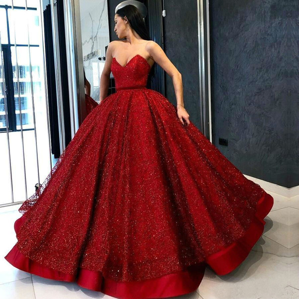 Gorgeous Red Quinceanera Prom Dresses Sweetheart Sequins Ball Gown Long Party Evening Dress with Ruffles Formal Pageant Gowns