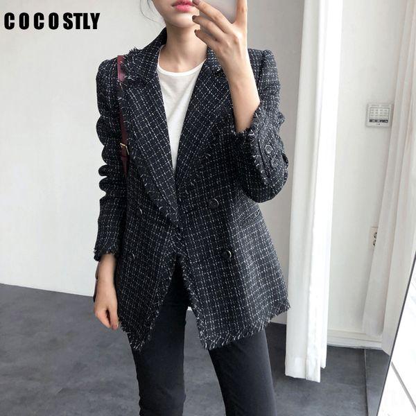 2019 Tweed Jacket Coat Women Double Breasted Tweed Coat Turn Down Collar Plaid Blazer Womens Jackets Casual Tassel Jacket Suit