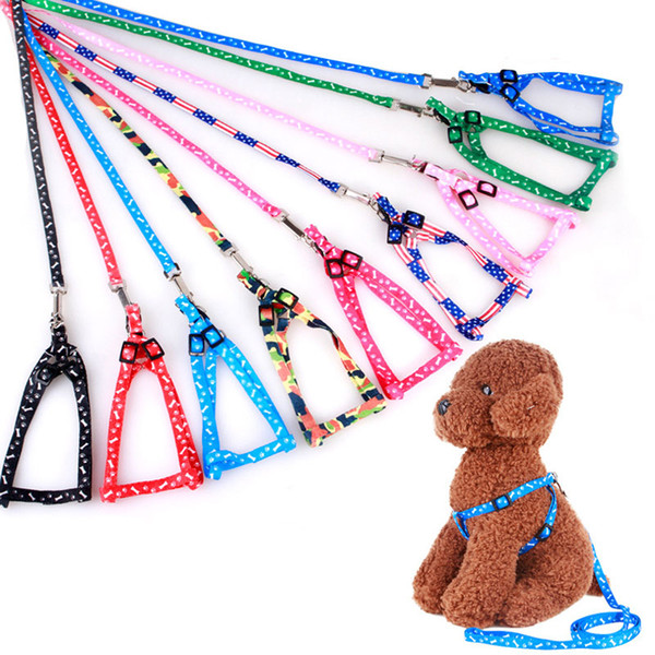 best selling Adjustable Cat Dog Collar Leash Dog Pet Lead Harness Chest Back Belt Traction Rope Pet Supplies Puppy Walking Printed Leashes DH1344 T03