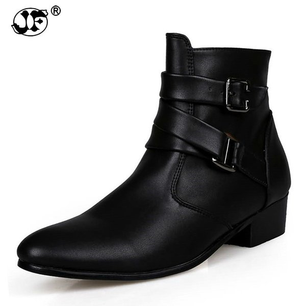 2018 British Style Casual Men Fashion Ankle Motorcycle Boots Men Pointed Toe PU Leather Male Warm Fur Boots Botas Hombre uj89