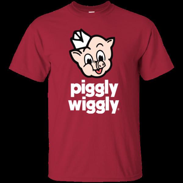 Satın Al Piggly Wiggly Domuz Eti Domuz Süpermarket Bakkal Karikatür Komik Retro G200 Gi Komik ücretsiz Kargo Unisex Rahat Tişört üst