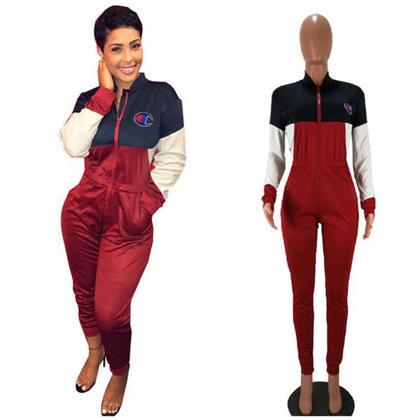 Kadın Şampiyonlar Tulumlar Patchwork Uzun Kollu Tulum Balıkçı Yaka Fermuar Tek Parça Pantolon Tulum Mektup Tasarımcısı Tulum Kadın Kıyafetler