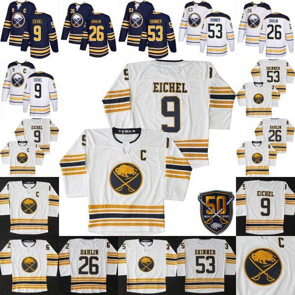 top popular 50 NEW Golden Buffalo Sabres 9 Jack Eichel Jersey 53 Jeff Skinner 26 Rasmus Dahlin Hockey Jerseys 50th Patch White Navy 2019
