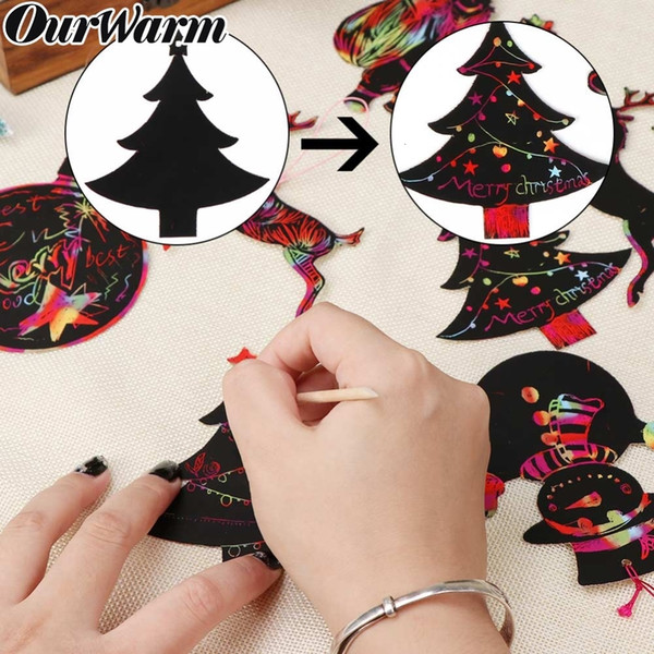 OurWarm 48pcs Christmas Gift Card Magic Color Scratch Card Children Scratch Art Paper Coloring Cards 2019 New Year Gift SH190916