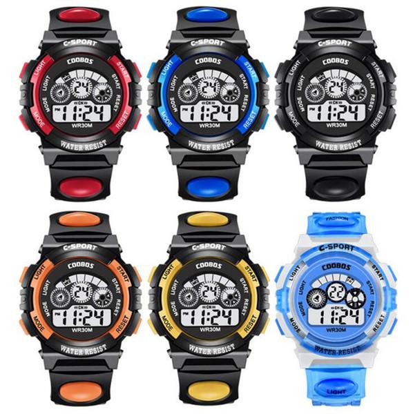 Mode Kinderuhr Jungen Mädchen LED Digitale Elektronische Armbanduhr Kinder Leuchtende Wecker Kalender Wasserdicht Uhren
