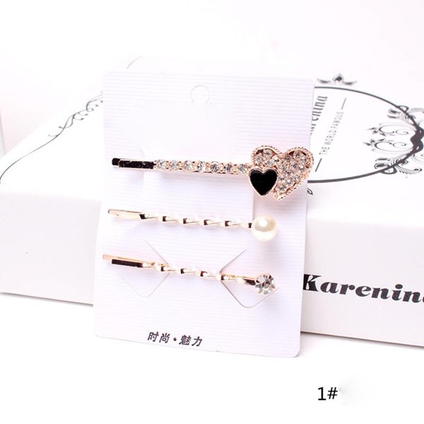 3 Pcs/Set Korean Style Girls Barrettes Crystal Rhinestone Hair Clips Women Butterfly Love Shaped Hairpins Clamp Accessories