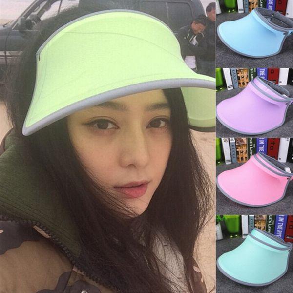 New Unisex Visor Cap Wide Brim UV Protection Sun Block Hat Women Outdoor Golf Tennis Sports Summer Beach Cap Adjustable Angle Wide Hat
