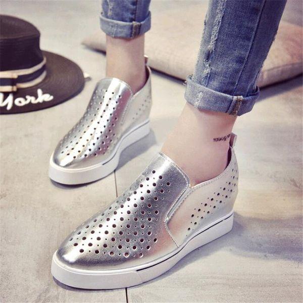 Designer Dress Shoes 2019 Spessore Sole Zeppa Slingback Hollow Out Lace Up scarpe da ginnastica Piattaforma Sneakers donna bianco traspirante