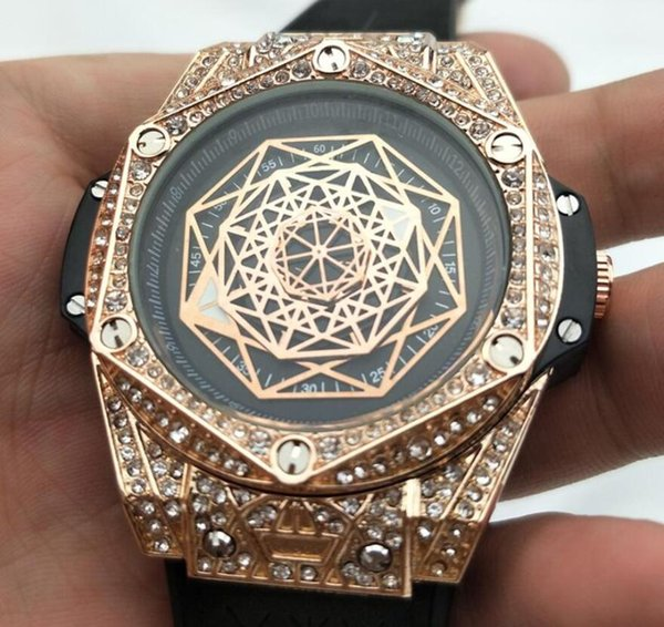 Rose Gold Brand Watches Fashion Four-Dimensional Space Quartz Mens Watches Luxury Diamond Wristwatches Relogies Business Men Watch