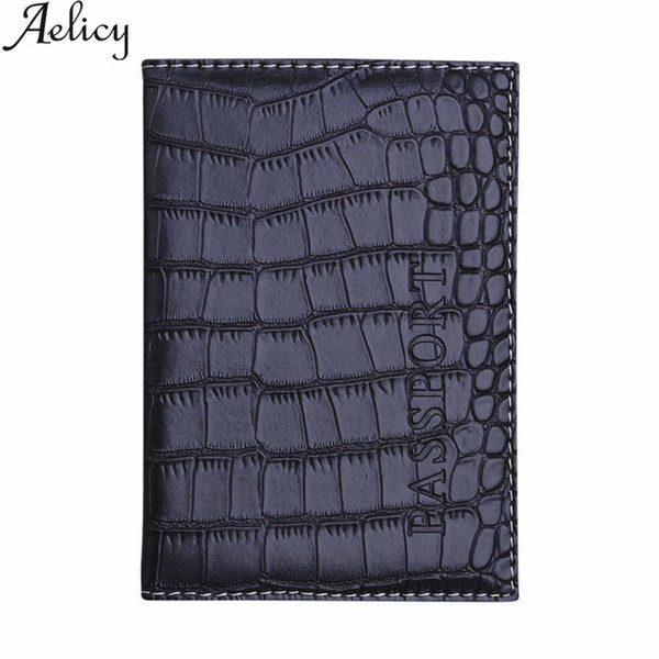 Aelicy Soft Passport Cover Leather Business Card Holder Passport Holder Protector Wallet Delicate PU Alligator Embossing bag