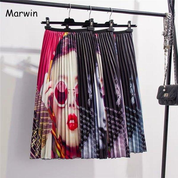 Marwin 2019 Primavera Estate New-Coming Europen Patchwork Pattern Alta elasticità Pieghettato Gonne delle donne in stile High Street