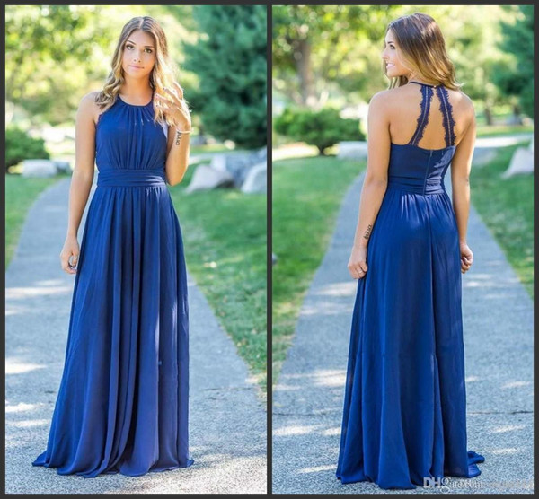 2019 New Real Photos Jewel Neck Evening Dresses Sleeveless Chiffon Dresses Sexy Back With Zipper Evening Gowns Sweep Train 2018