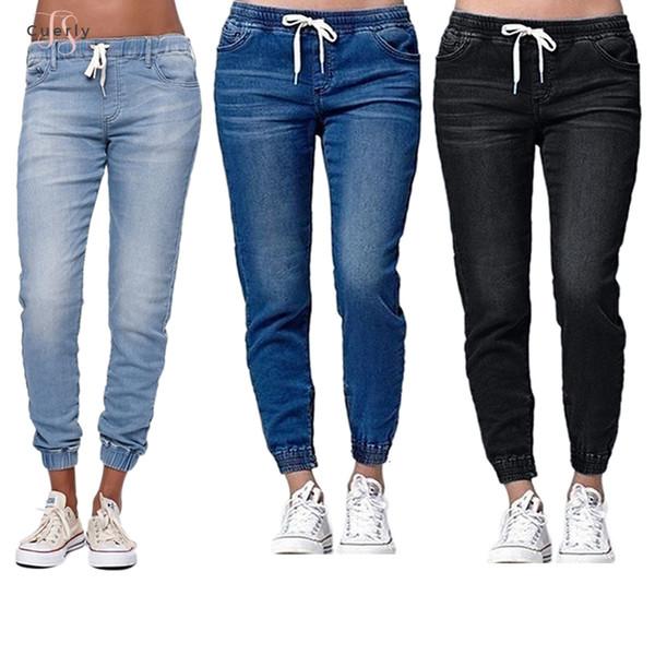 Jeans Neue Bleistift-Hosen-Schärpen Weinlese mit hohen Taille der neuen Frauen Hosen Voll Herbst Länge lose Hosen Plus Size 5Xl 6XL