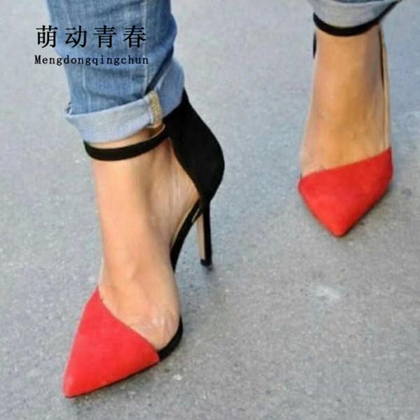 Mode Frauen High Heels Schuhe 2019 Mix Farbe Schnalle Sommer Stiefel Sexy Spitz Dünne Fersen Schuhe Frauen Kleid Pumps