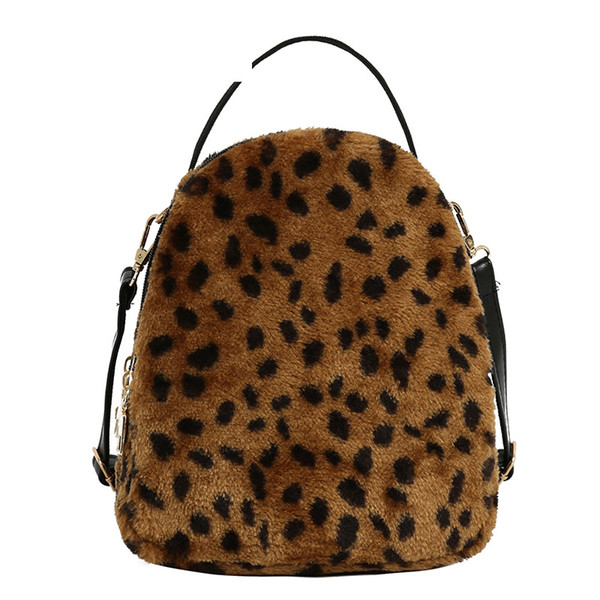 good quality Fashion Leopard Design Velour And Leather Backpack For Female Small Backpack For Teenager Girls Mini Travel Rucksack
