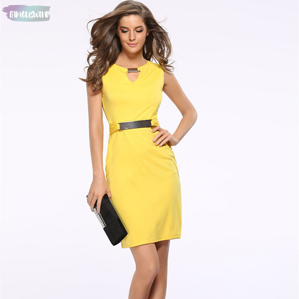 Summer Women Dress Fashion Hollow Out Sleeveless Dress Knee Length Women Casual Dresses Yellow Red Sleeveless Black Blue Designer Clothes