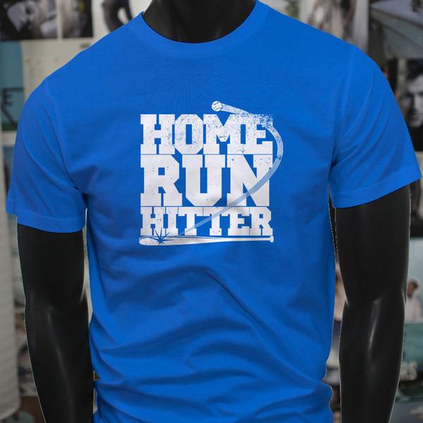 Home Run Hitter Baseball Season Game Sport Team Mens Blue T-Shirt T-shirt Men's Design Custom Short Sleeve Boyfriend's XXXL Couple T-shirts