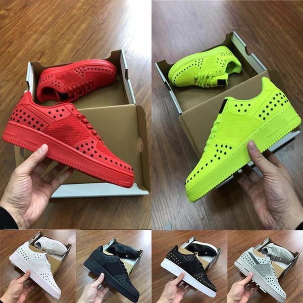 2019 Tasarımcı Kuvvet Adam Rahat Ayakkabı 1 Bir Kireç yeşil Kırmızı Sarı Erkekler Moda Lüks Düz Paten Eğitmenler Sneakers