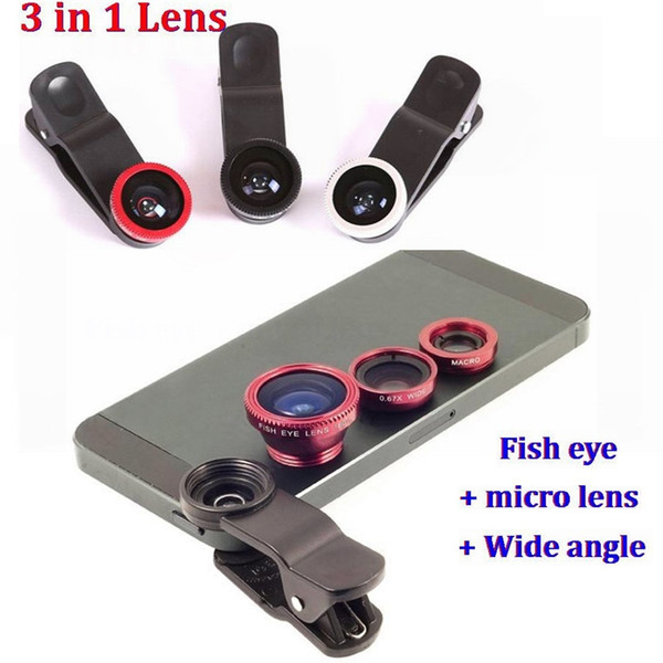 3 in 1 Universal Clip on Fish Eye Macro Wide Angle Mobile Phone Lens Camera kit For iPhone X 7 6 5S 8 samsung HTC LG