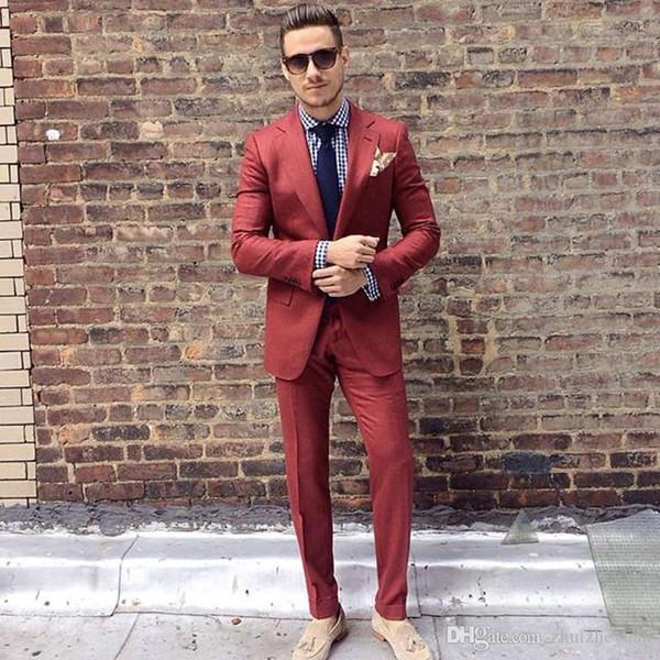 Abito da uomo rosso ruggine nuovo arrivo per matrimonio due pezzi smoking da sposo economici Abiti da uomo slim fit formale da ballo (giacca + pantaloni + cravatta)