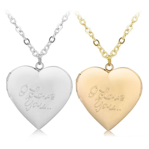 I Love You Heart Locket Necklace Silver Rose Gold Chain Love Heart Secret Message living memory pendant Lockets Women Fashion Jewelry Gift