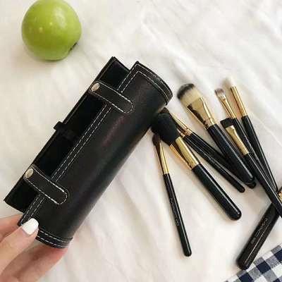 MA Marque 9 Pcs pinceaux de maquillage Set cosmétiques brosse de maquillage Lèvres manche en bois professionnel Beauté Voyage Kit Fondation avec Porte-gobelet Case