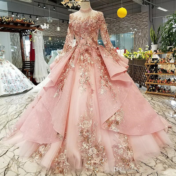 2019 Newest Design Pink Prom Dresses High Neck Long Sleeve Lace Up Back Dubai Puffy Ball Gown Evening Dresses Muslim Dinner Party Dress