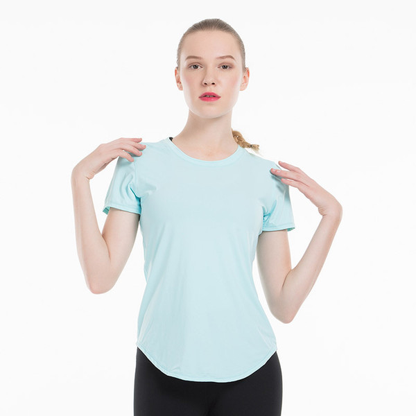 top popular Fitness Women Yoga Running Top Quick Dry Short Sleeve T-shirts Mesh Workout Sport Compression Tights Gym Clothes 2020
