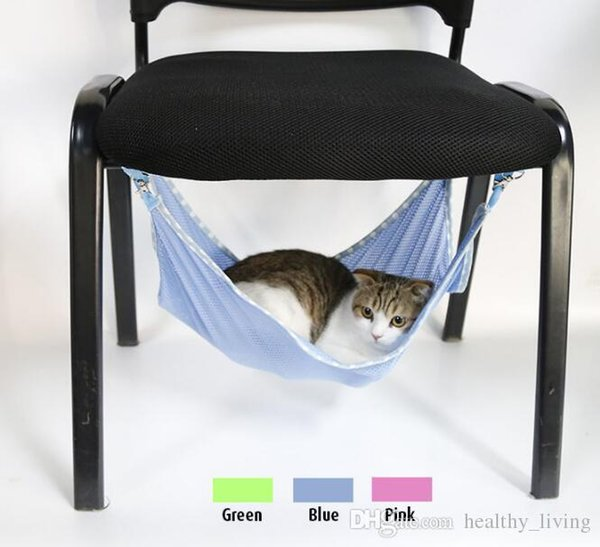 Cats Hammock Summer Portable Cats Pets Under Chair Breathable Air Mesh Hammock Multifunction Cats Beds 53*38cm DHL Free 666