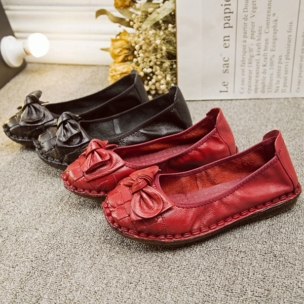 2020 popüler düz renk mokasenlerimi kadınların basit yay dekorasyon vahşi rahat kaymaz bayanlar düz ayakkabılar en çok satan W38-97