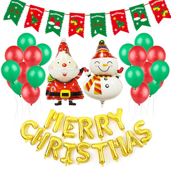 New Year Christmas Balloons Set Party Decoration Christmas Balloon Santa Claus Tree Merry Christmas Foil Balloon Xmas Decoration