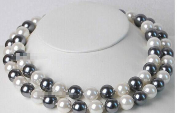 FREE SHIPPING + double strands south seas black white pearl necklace