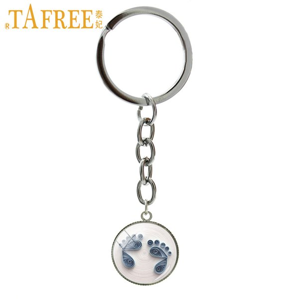 TAFREE Vintage best gifts for mother key chain ring Exquisite Baby Feet art picture pendant mother's day keychain jewelry NS520