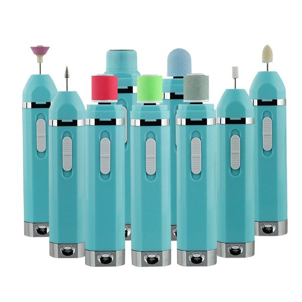 Mais novo Elétrica 9 In1 Kit Manicure Prego Tampão Prego Elétrico + Pé Calo Removedor + Lady Shaver Multifuncional Cuidados de Beleza SH190727