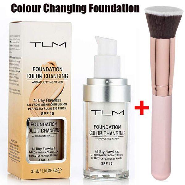 TLM Colour Changing Foundation with Makeup Brush,Self Adjusting Foundation Warm Skin Tone Foundation Moisturizing Liquid Cover Concealer