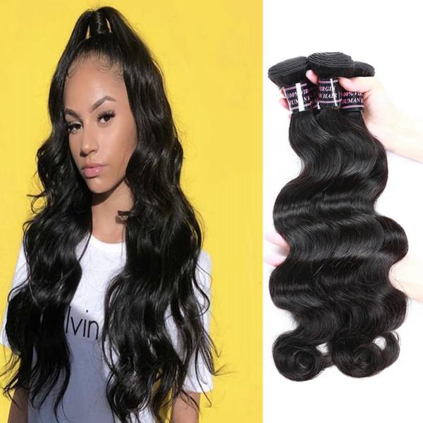 8-28 pouces Yaki droites Bundles de cheveux 3/4 / 5pcs péruviens Extensions de cheveux humains Body Wave lâche vague profonde Vierge Bundles de tissage de cheveux