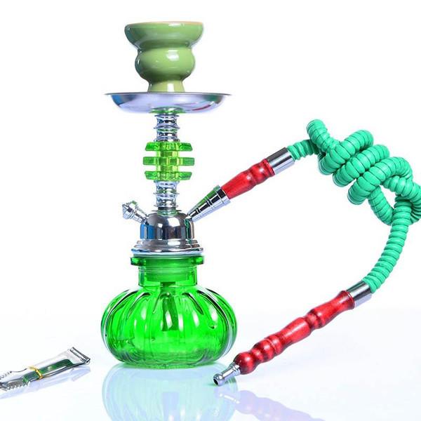 Вода курительная трубка Закончено Набор Кальян Одноместный шланг Шиша Arabian Кальян Металлические Угольные Щипцы Большой Hokahs Bong