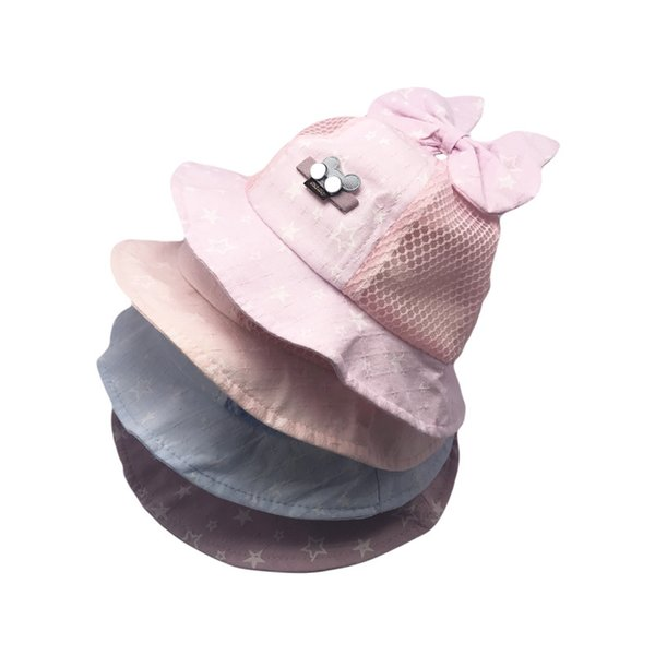 Kids Bucket Hats Caps Baby Girls Boys 2019 Breathable Mesh Hollow Out Bow Sun Hat Topee Beanie Caps Children Accessories 4 colors Q185