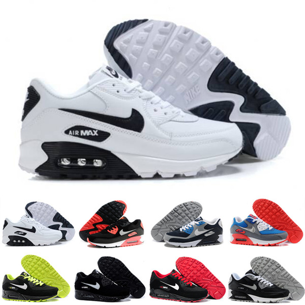 2019 New 90 Trainer Shoes Classic Men Women Cheap 90 Sports Shoes Black Red White Air Cushion Designers Air90 Sneakers 65CGT