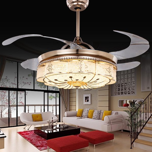 Invisible Ceiling Fans Living Room Remote Control Fan Lights Bedroom Simple Modern Retractable Belt LED Mute Electric Fan Chandeliers