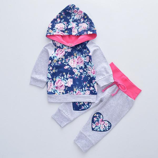 Çocuklar Tasarımcı Giyim Kız Hoodie Giyim Seti Moda Casual Çiçek Desen Uzun Kol Kapşonlu Sweatshirt Sashes Decaration Spor Pantolon