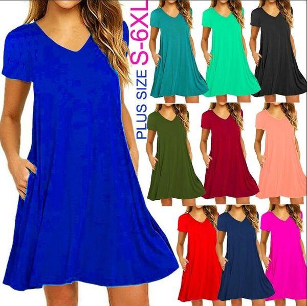 S-6XL Women Summer Tunics T-shirt Dress Casual Short Sleeve Slim Fit Beach Wear Dress with Pockets Sexy V-neck Plus Size Ruffles Party Mini